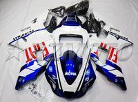 yamaha r1 carenados blanco al por mayor-4Regalos Nuevos kits de carenados de plástico de motocicleta de moldeo por compresión ABS aptos para YAMAHA YZF-R1-1000 1998-1999 98 99 carrocería personalizada azul blanco