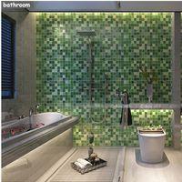 aufkleber für wandfliesen großhandel-5 Mt PVC Wandaufkleber Bad Wasserdicht selbstklebende Tapete Küche Wand Papier Mosaik Fliesen Aufkleber Wandtattoo Wohnkultur