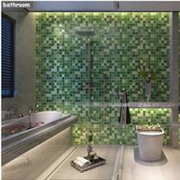 ingrosso carte da parati della stanza da bagno-5M PVC Wall Sticker Bagno Impermeabile Carta da parati autoadesiva Cucina Adesivi per piastrelle carta da parati in mosaico Adesivo Home Decor