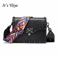 Wholesale computer red cooler resale online - Its Yiiya Pop Colors Women Genuine Leather Handbag Fashion Casual Colorful Belt Cool Rivet Girls Messenger Bags Ss805