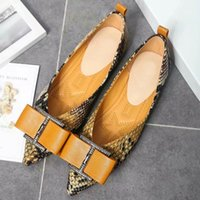 Wholesale shoes diamond studs online - Women Snakeskin Leather Flat Shoes Bow Diamond Stud Ladies Flattie Pointed Toe Luxury Brand Casual Flats Yellow Blue Dance Party Footwear