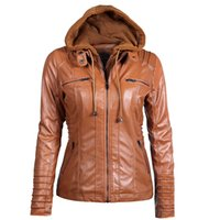 Wholesale gothic motorcycle resale online - HOT Gothic faux leather Jacket Women hoodies Winter Autumn Motorcycle Jacket Black Outerwear faux leather PU