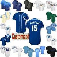 jersey azul royals al por mayor-Custom 2019 béisbol de Kansas City Royals Jersey personalizado Personalizado CUALQUIER Nombre retro azul negro edición de oro se desvanecen Whit Merrifield jackson