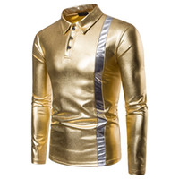 business polo shirt design 2021 - Shiny Gold Silver Design Polo Shirt Winter Mens New Fashion Slim Fit Polo Shirts Casual Business Long-Sleeved Street Party Clothing 1616-B10