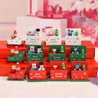 Wholesale kindergarten crafts for sale - Group buy Christmas decorations wooden train Christmas toys crafts ornaments Kid s toys children s holiday gifts kindergarten gifts DHL