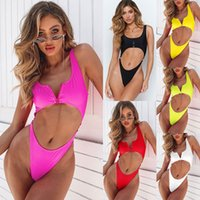 göğüsler mayo toptan satış-2019 Yeni Seksi Bikini Bayanlar Tek Parça Suits Katı Yüksek Bel Fermuar Göğüs Pedi Sutyen Maruz Oryantal Moda Mayo Sıcak mayolar