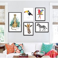 Wholesale parrot paintings for sale - Group buy Abstract Zebra Leopard Parrot Birds Giraffe Wall Art Print Canvas Painting Poster Cute Animal Wall Pictures Baby Kids Room Decor