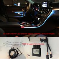 mercedes benz luz da porta venda por atacado-Interior do carro 3/64 cores de luz ambiente console da porta do painel de controle central luz do diodo emissor de luz para Mercedes-Benz C Classe W205 GLC (W253) C180 C200