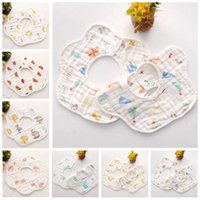 Wholesale towel cartoons for sale - Group buy Baby INS Bibs Burp Cloths Infant Cartoon Layer Bandana Waterproof Pure Cotton Saliva Bibs Scarf Kids Pinafore Feeding Towel Bibs TL1174