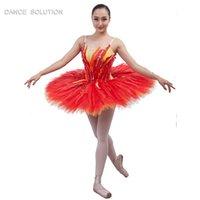 kadınlar için kırmızı tutus toptan satış-B17008 Spandex Kırmızı Profesyonel Bale tutu Kız Kadın Sahne performansı kostümleri Balerin dans elbise Klasik tutu