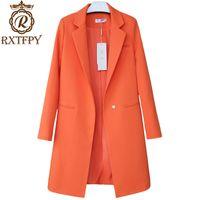 koreanische damen passt großhandel-2019 Frauen Blazer Jacken Korean Frühling Herbst Solide Lange Blazer Anzüge Weibliche Casual Tops Plus größe 3XL Damen Büro Mantel