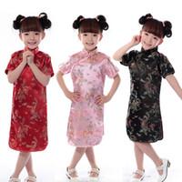 çince cheongsam çocuklar toptan satış-Bebek Kız Çin Tarzı Saten Cheongsam Çocuk Qipao Geleneksel Tang Takım Elbise Gelinlik Çocuk Modern Giyim Sahne Kostümleri