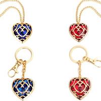 Wholesale zelda jewelry resale online - Zelda Heart Crystal Pendant Necklace Fashion Woman Cartoon Love Keychains Lady Anime Movie Jewelry Party Gift TTA1042