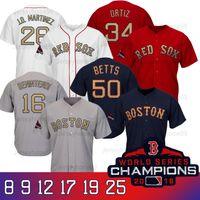 ingrosso t patch-Boston 2019 Red Sox world series champions jerseys T-shirt da baseball da uomo Toddlers da baseball con la patch del campione Golden Font