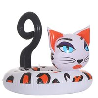 aufblasbare lustige tiere großhandel-Neues design aufblasbare hübsche kitty schwimmrohr pool float fahrt auf tier langlebige katze wasser schwimmring urlaub party spaß spielzeug