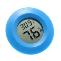 dijital termometre sıcaklık ölçümü toptan satış-Mini LCD Dijital Termometre Higrometre Nem Sıcaklık Ölçüm Aracı Yuvarlak Elektronik Sıcaklık ve Nem Ölçer Plastik