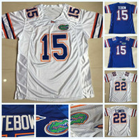 tim football al por mayor-Hombres 15 Tim Tebow 22 E.Smith Florida Gators NCAA College Football Jersey Doble costura Nombre Logos Blanco Azul Envío rápido