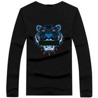 длинная футболка плюс размер оптовых-Оптовая 22 цвет Тигр голова футболка мужские тройники плюс размер О-образным вырезом с длинным рукавом футболка человек печатный хлопок Тигр голова футболка S-5XL футболка