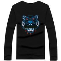 tshirt longo mais o tamanho venda por atacado-Atacado 22 cor Tiger head T shirt Tees Dos Homens Plus Size O-pescoço camiseta de manga longa homem Impresso Algodão Tiger cabeça T-shirt S-5XL Tshirt