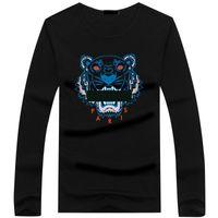 uzun tişört artı boyutu toptan satış-Toptan 22 renk Kaplan kafası T Shirt Erkek Tees Artı Boyutu O-Boyun uzun Kollu T Gömlek adam Baskılı Pamuk Kaplan kafası T-shirt S-5XL Tshirt
