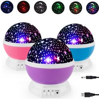 luzes noturnas rotativas venda por atacado-Bebê Night Lights For Kids estrelado Led Night Light Rotating lua Stars Projector Table Lamp Com USB para presentes de Natal de aniversário
