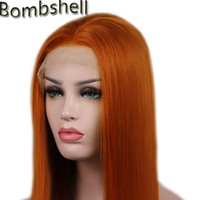 Wholesale orange yellow wigs resale online - Bombshell Density Straight Orange Synthetic Hair Lace Front Wig Natural Hairline Middle Part For White Yellow Women Wigs Y190717