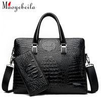 yeni moda çanta toptan satış-Yeni moda iş timsah tahıl çanta tek omuz evrak çantası bilgisayar hediye çantası erkek çantası