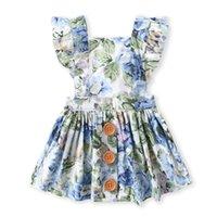ingrosso vestito blu dalla principessa 3t-I vestiti squisiti della neonata della nuova primavera di arrivo di estate elegante Sleeveless il fiore blu della principessa dei bambini del bambino del cotone di alta qualità