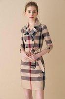британское платье стиля женщины оптовых-Хлопковые лацканы плед классические длинные юбки британский стиль 2019 лето новый тонкий срез с короткими рукавами женское платье повседневная мода 01