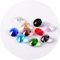 ingrosso perlina in ottone di vetro-100pcs / lot 16 colori hanno mescolato le perle di ottagono di vetro di cristallo 14mm 2 fori perline di cristallo di vetro ottagonali freeshipping
