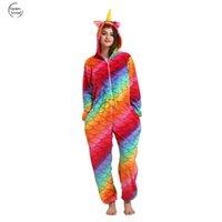 erwachsene kigurumi tier pyjama groihandel-Adult Nachtwäsche Pyjamas Kigurumi Einhorn Halloween Frauen Tier Flanell Winter Pyjamas Pikachu-Stich-Karikatur mit Kapuze Pyjamas