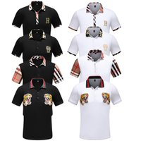 polo noir coupe slim achat en gros de-2019 mens manches courtes Medusa Polo Shirt Fashion Print Slim Fit Designer Designer avec broderie blanche Bee Tiger Casual Black Polos Shirt