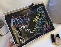 çanta çantası baskısı toptan satış-18SS BB Paris graffiti baskı kadın debriyaj çanta cüzdan saklama çantası Fransız marka kadın kutusu ile debriyaj çanta marka çanta