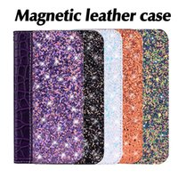 ingrosso bling kickstand-Magnetic Bling Wallet Case Coccodrillo in pelle Glitter Flip Cover Card Holder Cavalletto per iPhone X XS MAX XR 8 SamsungS8 S9 OPP Bag