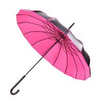 Wholesale black pagoda umbrella resale online - Yesello Long handle Pagoda Umbrella Men Black Coating Windproof Large Umbrellas Red Rain Windproof Portable Umbrellas For Women T8190619
