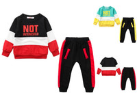 Wholesale cute baby sports clothes for sale - Group buy Baby kids Clothing Sets cute long sleeve sporting style top pants sets clothing