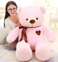 weißer teddybär großhandel-Plüsch Riesen Teddybär Kuscheltiere Herz 80cm Weiß Rosa für Baby Plüschtiere Kinder Geschenk Süße Puppe Stofftier Freundin Geburtstag Liebe