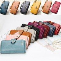 kartenetui geldbörsen frauen großhandel-Neue Frauen-Dame Leather Wallet Long Card Holder-Telefon-Beutel-Kasten-Geldbeutel-Handtasche 6 Farben