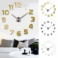 grande horloge d'art achat en gros de-3D Grand Nombre Miroir Horloge Murale Grand Design Moderne 3D Arrière-plan Horloge Murale DIY Maison Salon Bureau Décor Art