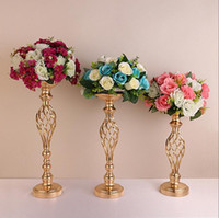 Wholesale golden wedding candles for sale - Group buy Golden flower vases Creative Hollow Gold Metal Candle Holders Wedding Road Lead Table Flower Rack Home And Hotel Vases Decoration LXL545