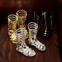 Discount Summer Girls Sandals Child Gladiator Cool Boots Rivet Hot Sale Long Cutting Way Girl Princess Shoes