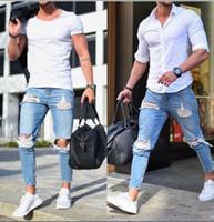 çocuk için açık renkli kot pantolon toptan satış-Yeni Stil Avrupa Ve Amerika Erkekler Sıkı-Fit Jeans Işık Renk Delik Skinny pantolonlar
