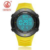 ohsen relógio amarelo venda por atacado-OHSEN Marca Mens Chronograph Relógios Esporte Amarelo Relógio Masculino Relógio Do Exército Dos Homens Multi função À Prova D 'Água LED Relógio Digital
