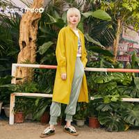 casaco de trincheira de dobro duplo venda por atacado-Samstree Primavera Escritório Lady Trench Coat Simples Cinto Longo Casaco Duplo Breasted Solto Feminino Amarelo A Linha Outwear Casacos
