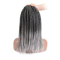 Wholesale black grey synthetic braiding hair for sale - Group buy 7 Packs inch stands pack Senegalese Twist Crochet Braids for Black Women High Temperature Fiber Synthetic Braiding Hair Extensions