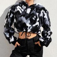 ingrosso pullover di pelliccia-Streetwear Camouflage Hoodies Donna Felpa Camo Furry Fur Crop Top con cappuccio Inverno Pullover Cweatshirts Donna