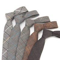 ingrosso abito avvocato-Cotone 6CM del vestito degli uomini di modo stretto legame di affari del vestito plaid casuale Avvocato Student Tie