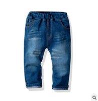 vaqueros de moda para bebés al por mayor-Pantalones vaqueros de los bebés varones 2019 Primavera Niños Pantalones de niño Pantalones elásticos de moda Infant Toddler Bottom Niños Ropa Denim Pantalones 1-8Y