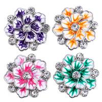 ingrosso bottoni di fiore a scatto in metallo-Nuovo Snap Button Gioielli quattro colori fiore Ginger metallo 18mm bottoni a pressione misura il braccialetto Bangles pulsante gioielli TZ9175