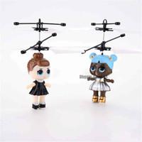 fliegende spielzeuge großhandel-LOL Puppe RC Fliegende Spielzeug Luminous Drone Kid Elektronische Infrarot Induktionsflugzeug Fernbedienung Spielzeug LED-Licht Mini Hubschrauber Spielzeug